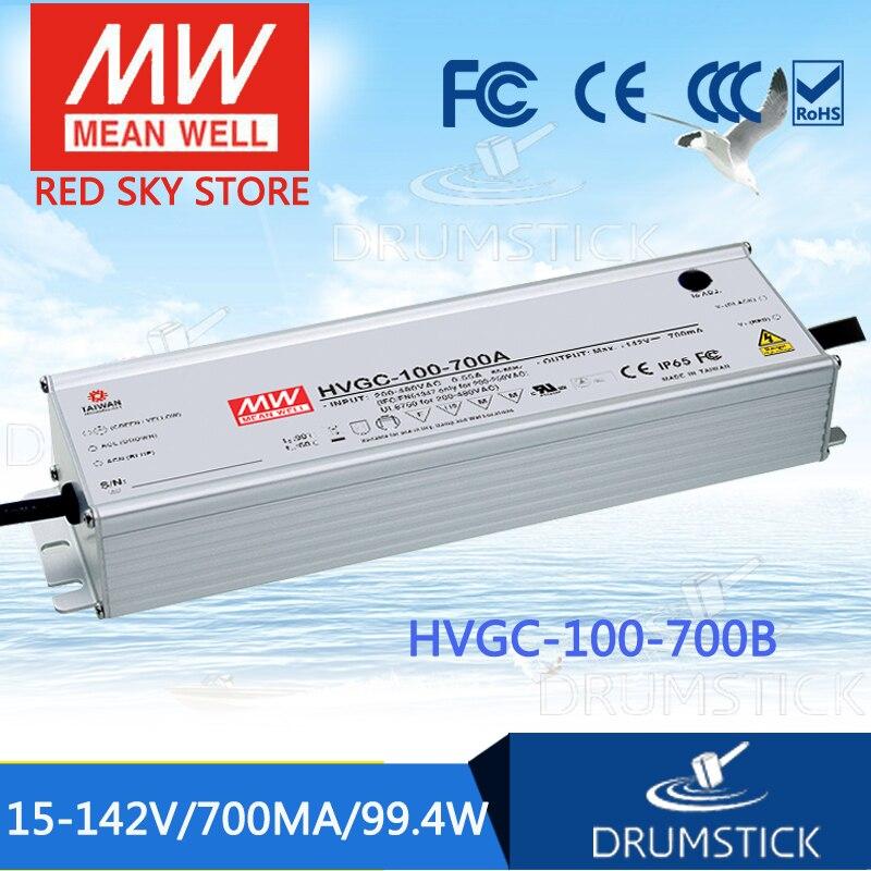 MEAN WELL original HVGC-100-700B 15 ~ 142V 700mA meanwell HVGC-100 99.4W Single Output LED Driver Power Supply B Type mean well hvgc 150 350a 42 428v 350ma meanwell hvgc 150 149 8w singleoutput led driver power supply a type