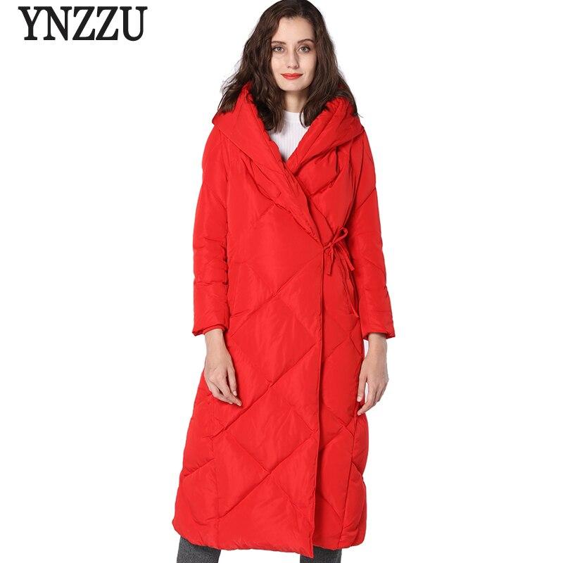 YNZZU Fashion Original Design 2018 Winter Jacket Women Hat Warm Elegant Extra Long Lace Up Quilt   Down     Coat   High Quality YO674