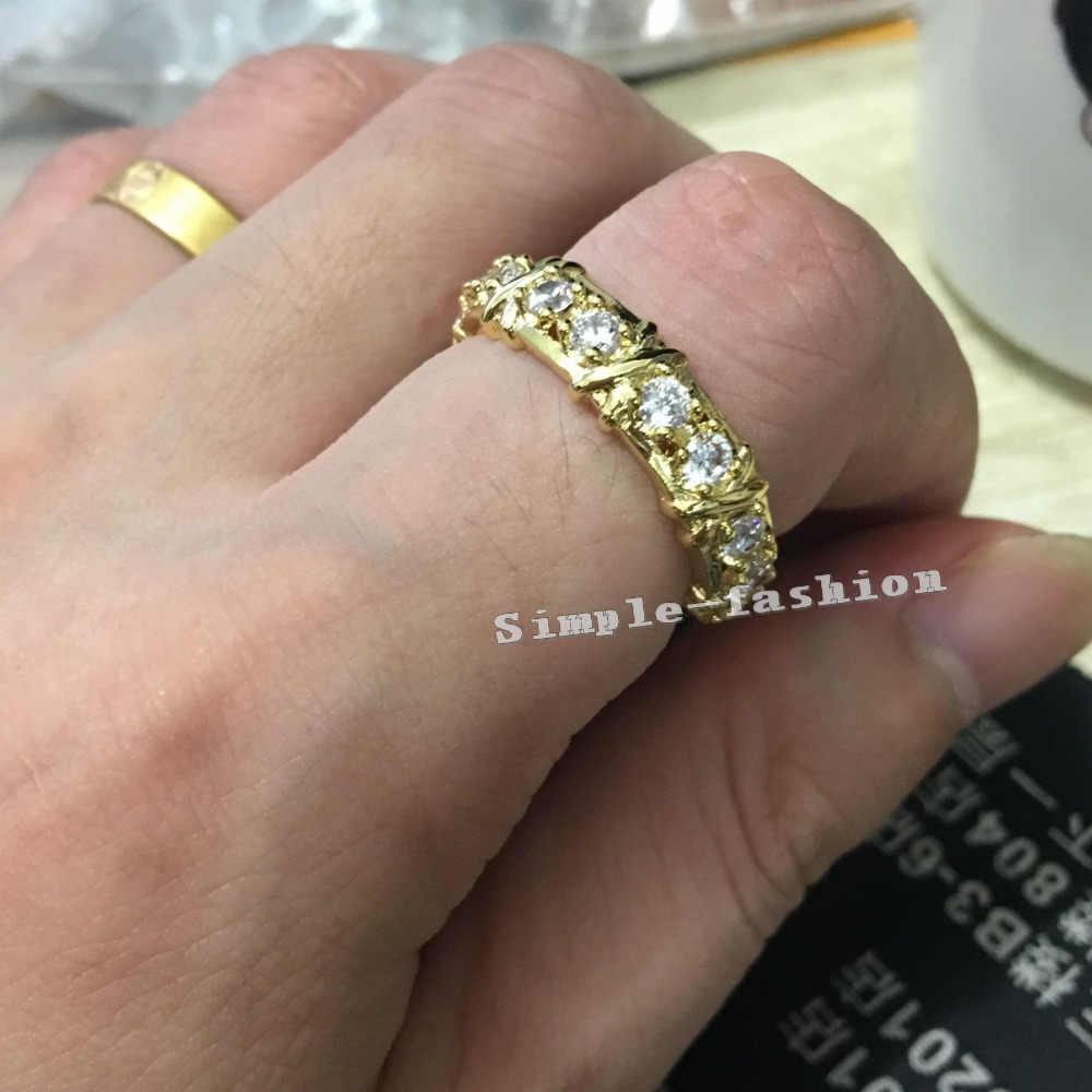 Choucong 高級ジュエリー 3 ミリメートル石 5A ジルコン Cz 10KT イエローゴールド充填婚約ウェディングバンド女性ギフト