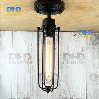Envío libre accesorio de la lámpara jaula de hierro negro de la vendimia de acabado E27 socket sostenedor de la lámpara E27 luz de techo de hierro con cubierta de plástico