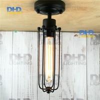 Gratis verzending kooi lamp armatuur ijzer vintage zwart afgewerkt E27 iron cover met plastic socket lamphouder E27 plafondlamp