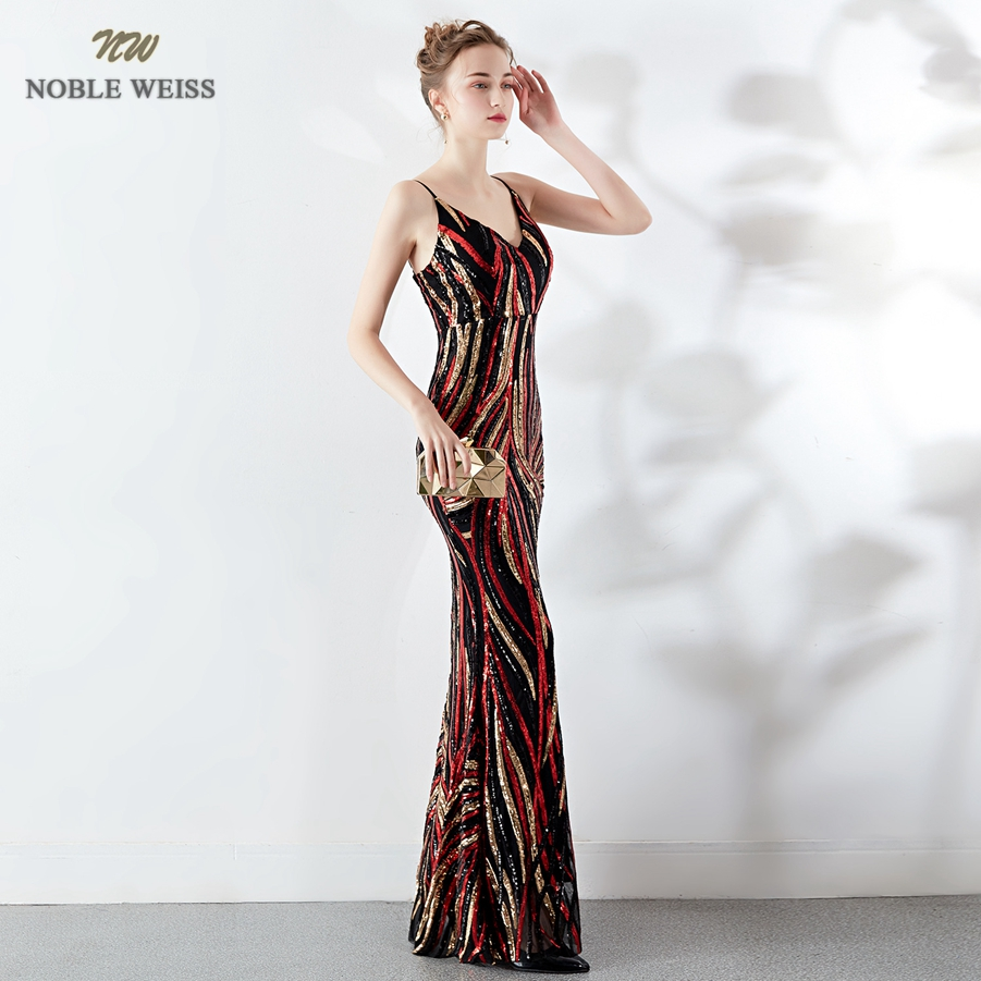 Robes de bal 2019 sexy longue sirène robe de bal vestidos de fiesta largos col en v dos nu coloré sequin robes de soirée - 4