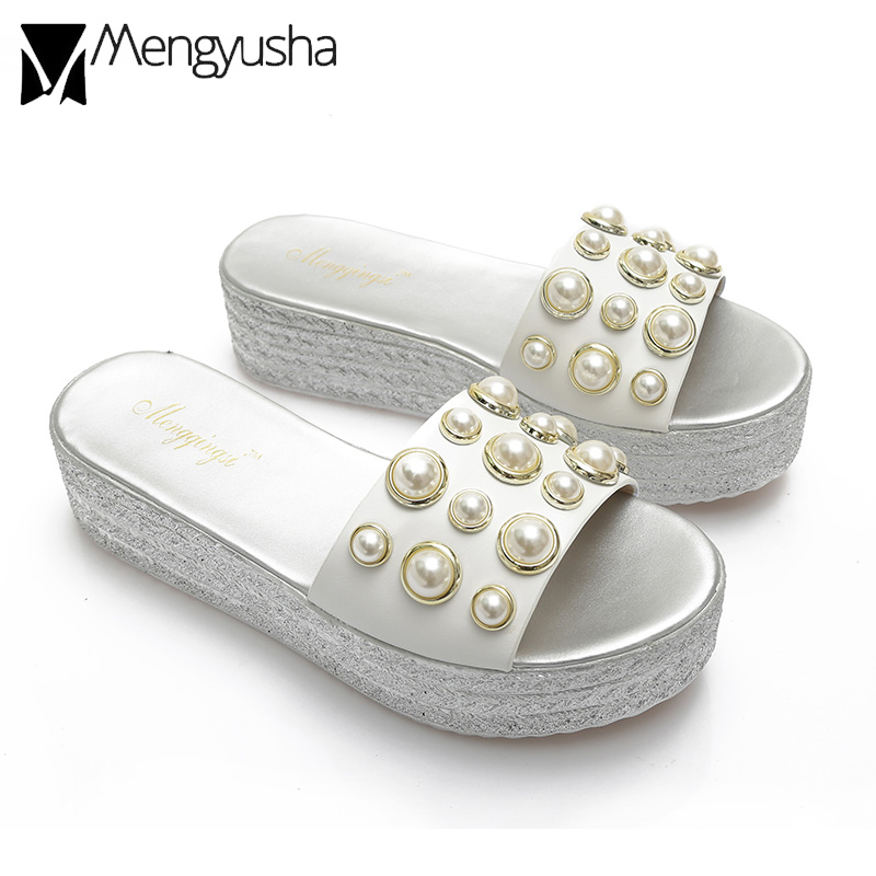 95e79f480c10 colorful crystal creepers slides pearl studded silver knitted wedges  sandals woman solid plaid platform sandals big size 34 43-in Slippers from  Shoes on ...
