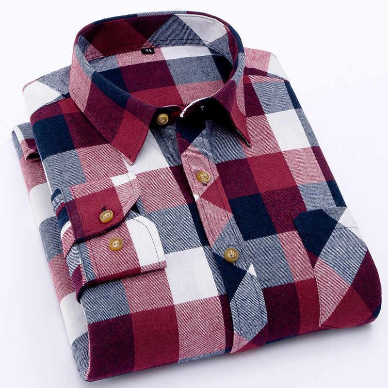 赤フランネルチェック柄シャツの男性 2019 ファッションドレス男性シャツカジュアル暖かいソフト長袖シャツ camiseta masculina シュミーズオム