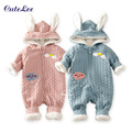 Baby infant christmas winter cotton plush snowsuit zipper design newborn baby girl boys clothes snowsuit for boys winter coats
