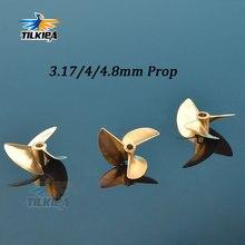 Rc Boat Propeller 3 Blades Copper Props Diameter 36mm/37mm For 3.18mm(1/8)/4mm/4.76(3/16) Prop Shaft Boat Screw