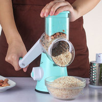 Multifunctional Hand Drum Rotary Grater Vegetable Shredder Slicer Roller Shape Stainless Steel Crank Handle Kitchen Tool HY