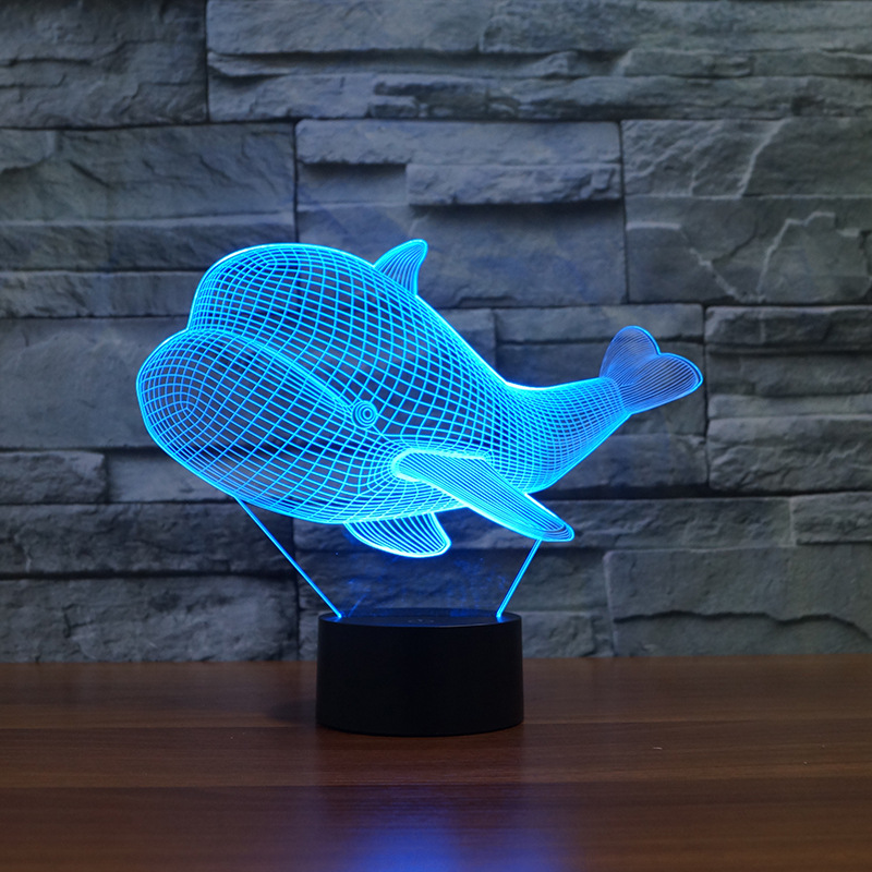 Whale 3d  Led Lamp Manufacturer Wholesale Gift Atmosphere 3d Lamp 7 color change Remote Touch switch  Novelty Nightlight|LED Night Lights| |  - title=