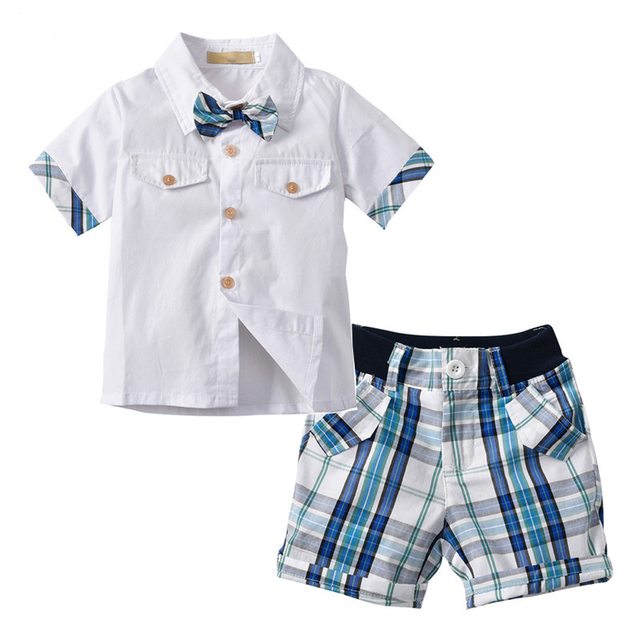 94d756dea48d toddler boy summer clothes baby boys set 2018 fashion cotton Bow tie short  sleeve shirt +