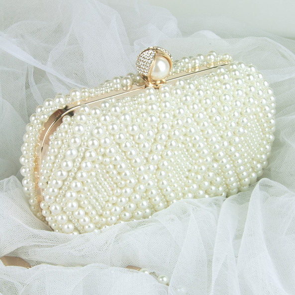 Wedding Purse Embroidery Handmade Pearl Handbags Rhinestones Beaded Wedding Bags Small Day Clutches Night Club Evening Bags