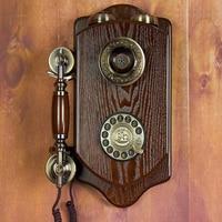 Teléfono retro montado en la pared con cable  teléfono fijo antiguo para el hogar  Hotel  salón de salón hecho de madera  teléfonos|Teléfonos|   -
