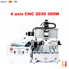 4 axis mini cnc router 3020 300w spindle woodworking lathe machine for PVC Acrylic Plastic Wood
