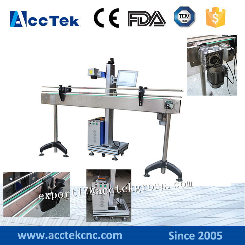 Protable fiber laser marking machine with transmit unit working for cans