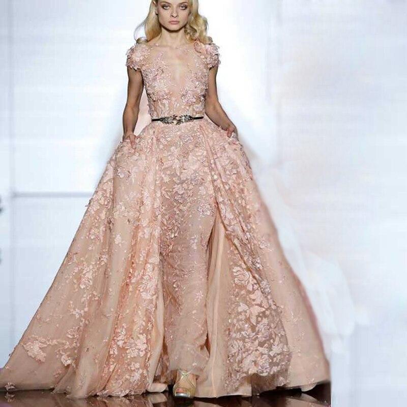Elegant elie saab Short Sleeve Evening Dresses 2017 A Line Sheer V ...