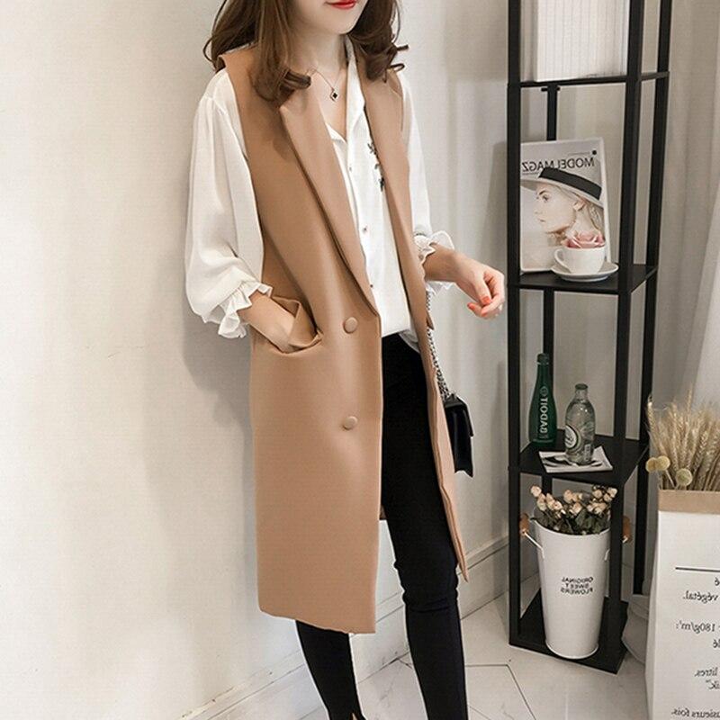 Lady Womens Wool Casual Sleeveless Long Vest Waistcoat Jacket Coat Spring OL HOT