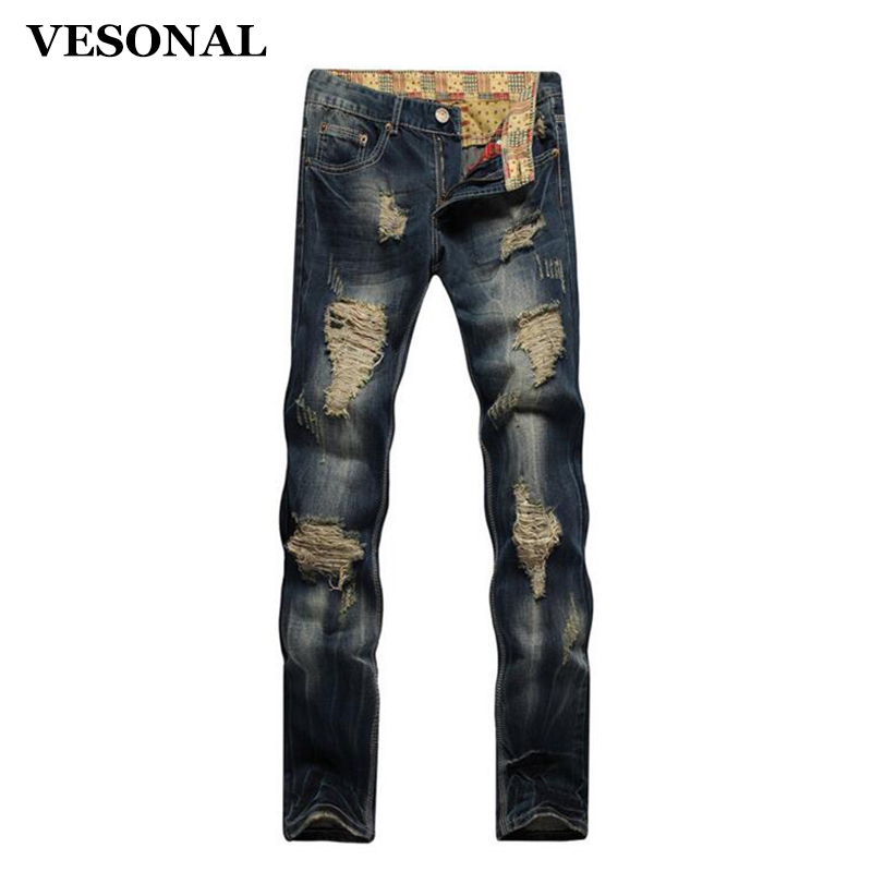 VESONAL 2017 Brand Straight Biker Hip Hop Swag Men Jeans Pants Fashion Casual Vintage Hole Slim Ripped Denim Mens Trousers VE116 2017 fashion mens patch jeans slim straight denim biker jeans trousers new brand superably jeans ripped dark jeans men u329