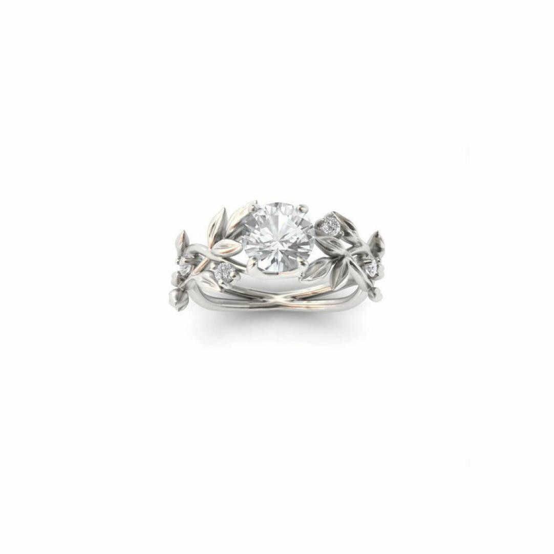 למעלה איכות נשים של כסף פרחוני שקוף פרח גפן עלה טבעות חתונה מתנת איש או אישה מתנת אירוסין טבעת #25