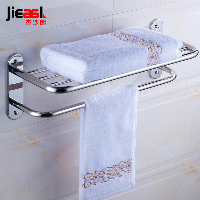 Jieshalang 304 Stainless Steel Bathroom Towel Rack Shelf Wall ...