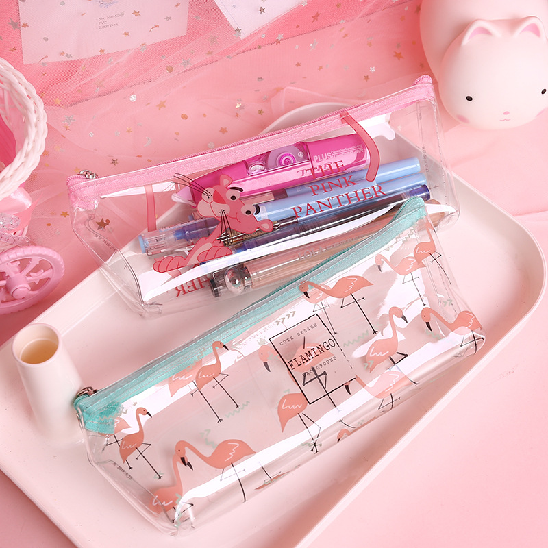 Kawaii Flamingo Pencil Cases Cute Transparent Pen Bags Clear Pink Panther Pencil Case For Girls Stationery School Supplies