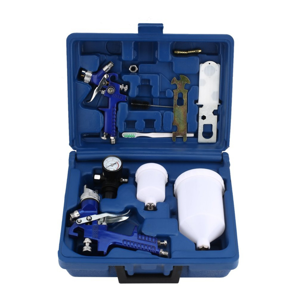 HVLP Spray Paint Air Gravity Feed Spray Gun Kit W/2 Car Primer With 0.8MM 1.4MM Nozzles Full Complete Car Parts Set 22 piece spray gun cleaning kit with case complete set to clean hvlp paint guns air tools gravity