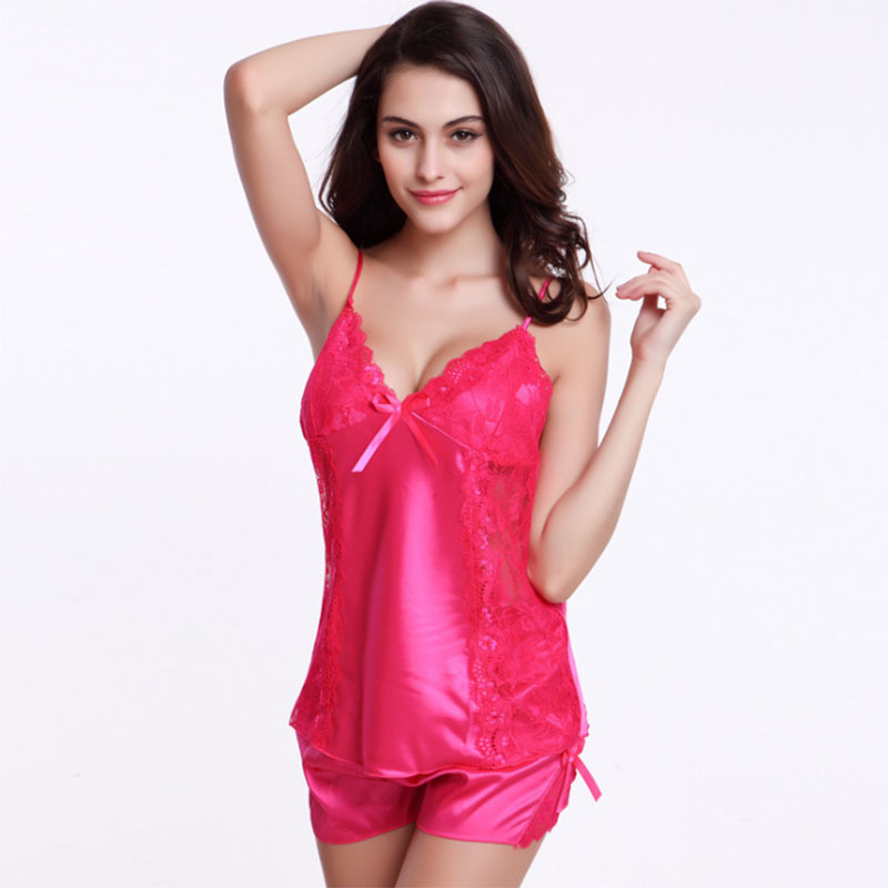 Hot ! Summer New Arrival Women Nightwear Sexy V-neck Silk Sleeveless Top & Shorts Pajamas 10 Color Sleepwear Size M~XXL iT279