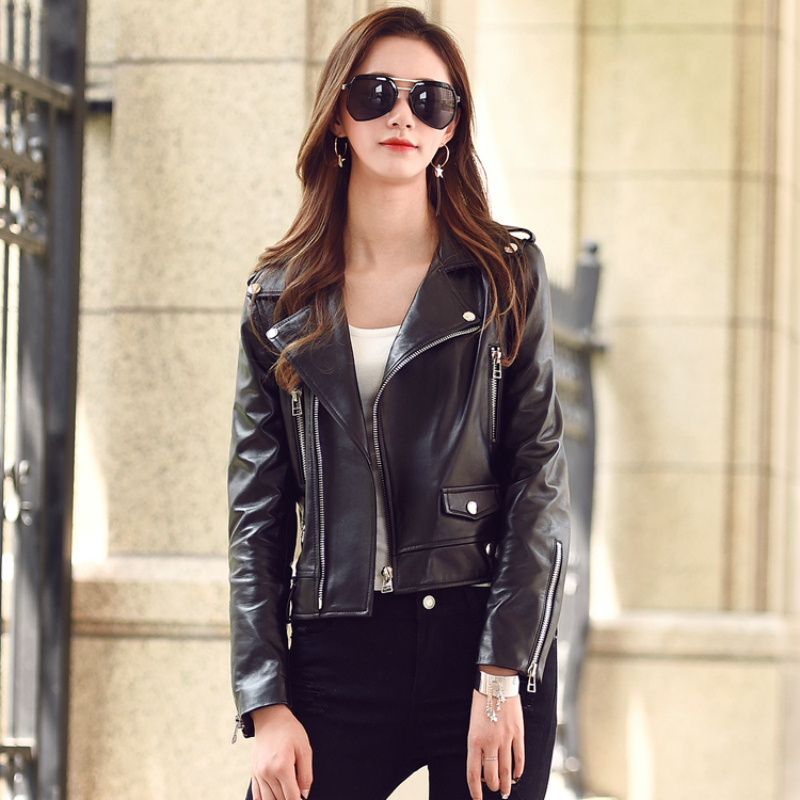 Free shipping,Genuine leather woman slim jackets.fashion motorbiker Asian size female sheepskin jacket,plus size leather coat