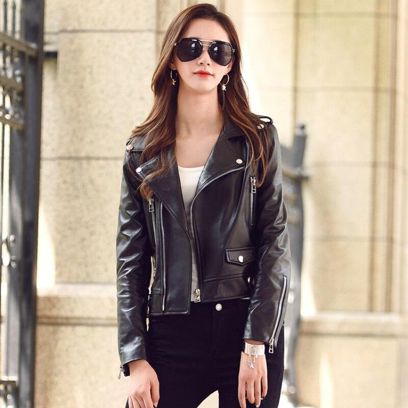 Livraison gratuite, veste en peau de mouton femme en cuir véritable. fashion motorbiker femme, manteau en cuir souple de grande taille, ventes