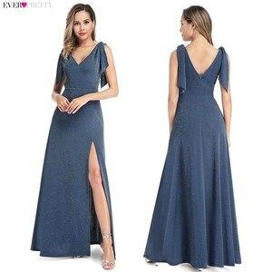Image 5 - Plus tamanho vestidos de noite longo sempre bonito novo azul empoeirado sem mangas com decote em v baratos verão vestidos formais 2020 robe soiree dubai