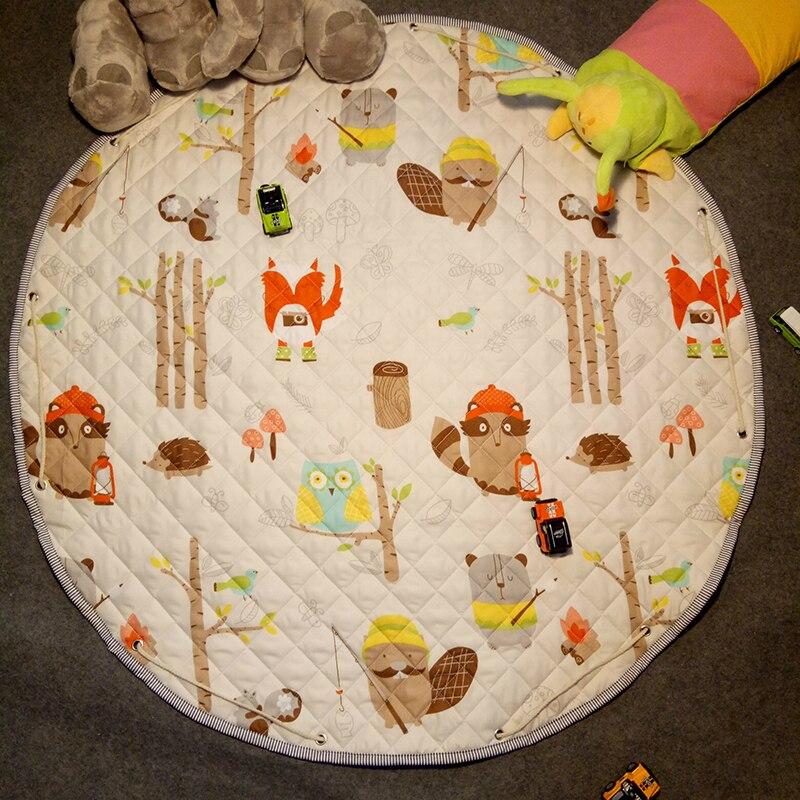 Fashion 1.1m/4.33 Inch Kids round rug Baby Play Mat Toys Organizer Drawstring Storage bag Cartoon Animal Children Floor Game Mat