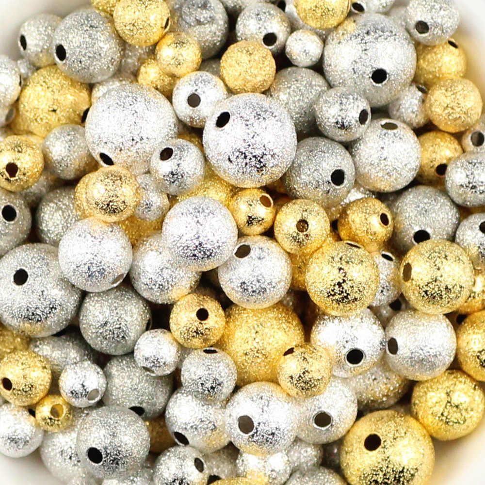 JHNBY 100 шт. золотые серебряные бусинки с желтым кристаллом 4/6/8/10 мм круглый Медь Spacer незакреплённые бусины для изготовления ювелирных изделий браслет, ожерелье, серьги рукоделие своими руками