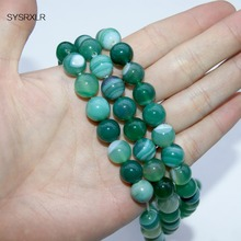 Wholesale Natural Stone green Stripe Round Loose Beads 4 6 8 10 12MM Pick Size For Jewelry Making DIY Bracelet Necklace
