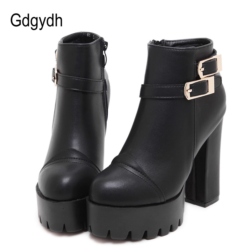 Gdgydh 2018 New Spring Women Ankle Boots High Heels Black Autumn Platform Ladies Short Boots For Party Leather Female Shoes brand new open toe ankle boots ladies shoes sexy slingbacks high heels platform shoes women boots spring autumn free shipping page 10