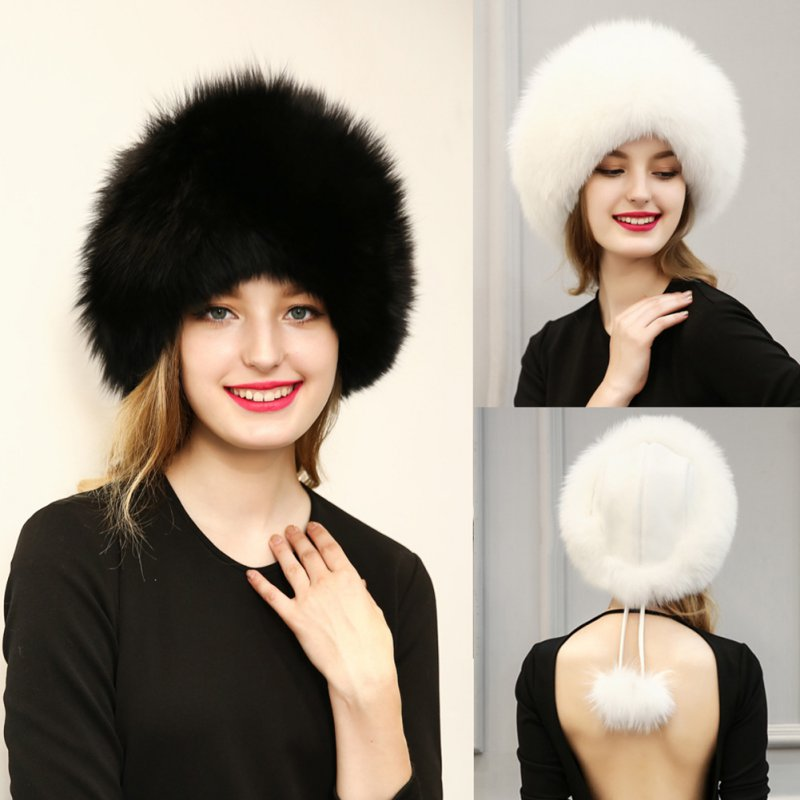 Fashion Luxurious Women's Faux Fur Hats Winter Warm Caps Female Headgear With Dua Fur Balls