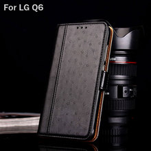 Case for LG Q6 funda Luxury Ostrich Leather coque with Stand fashion hit color Wallet for lg q6 case capa phone Flip cover