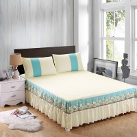 IvaRose 3pcs Bedding Sets Colorful Bedspread Cotton Bed Skirts Mattress Cover Full Queen King Size 19