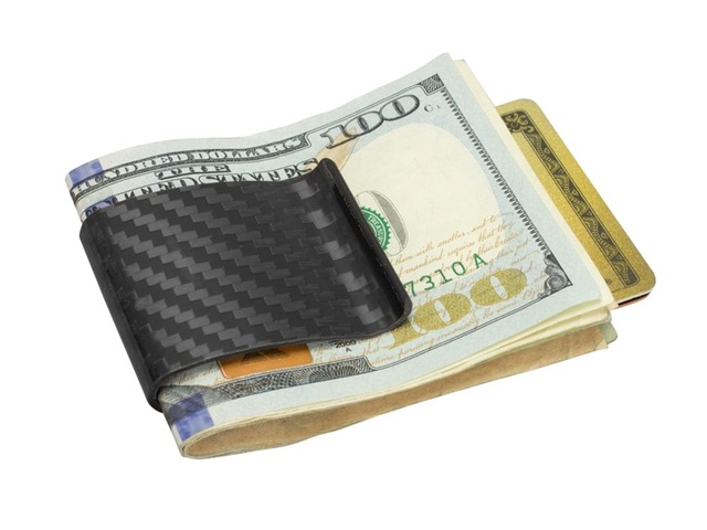 Free Shipping 2016 Promotion Real Carbon Fiber Money Clip Glossy - Genuine 3K Twill- Credit Card Business Wallet  L