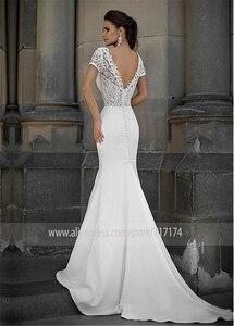 Image 2 - Junoesque laço & cetim decote em v vestidos de noiva sereia com bowknot mangas curtas vestidos de noiva
