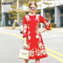 High Quality Dress Party Elegant Women Luxex Golden Embroidery 3/4 Sleeve A-Line Knee-Length Red Dress Special Events Ladies