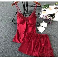 1 комплект, летние Пижамные комплекты, сексуальные Пижамные шорты атласное шелковое ночное белье с v-образным вырезом, нижнее белье, комплект для сна, Женская спальная Пижама