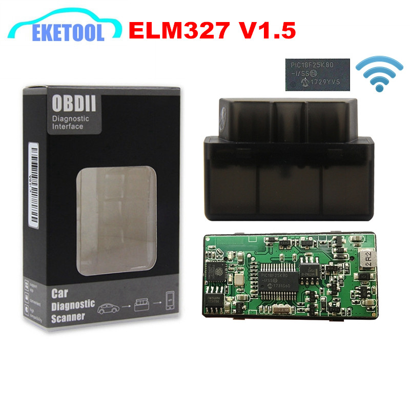ELM327 WIFI <font><b>V1.5</b></font> Hardware PIC18F25K80 Chip Single PCB OBD CAN-BUS Supports 9 Protocols SAE J1850 PWM <font><b>ELM</b></font> <font><b>327</b></font> <font><b>V1.5</b></font> WIFI iOS Scan image