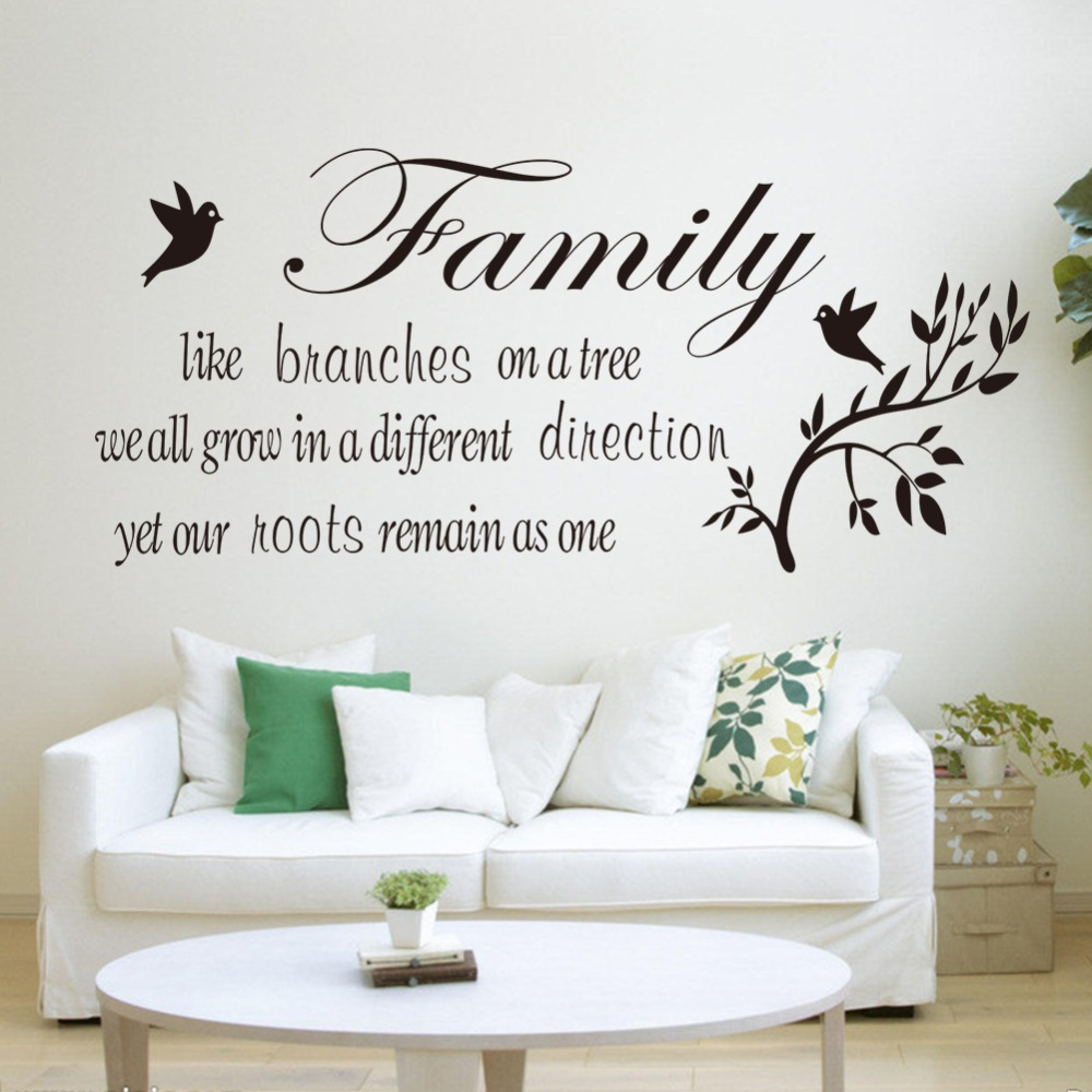Family likes branch english quote waterproof home PVC wall stickers ...
