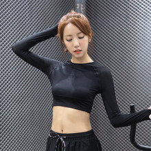 Women Yoga Tight Long-Sleeve midriff-baring T-Shirts Anti-Sweat Fitness Running Tops Tees Breathable Bodybuilding Sportswears115