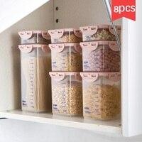 8pcs/set Transparent sealed cans food storage box 8 sets of kitchen plastic grain cereal storage tank storage tank