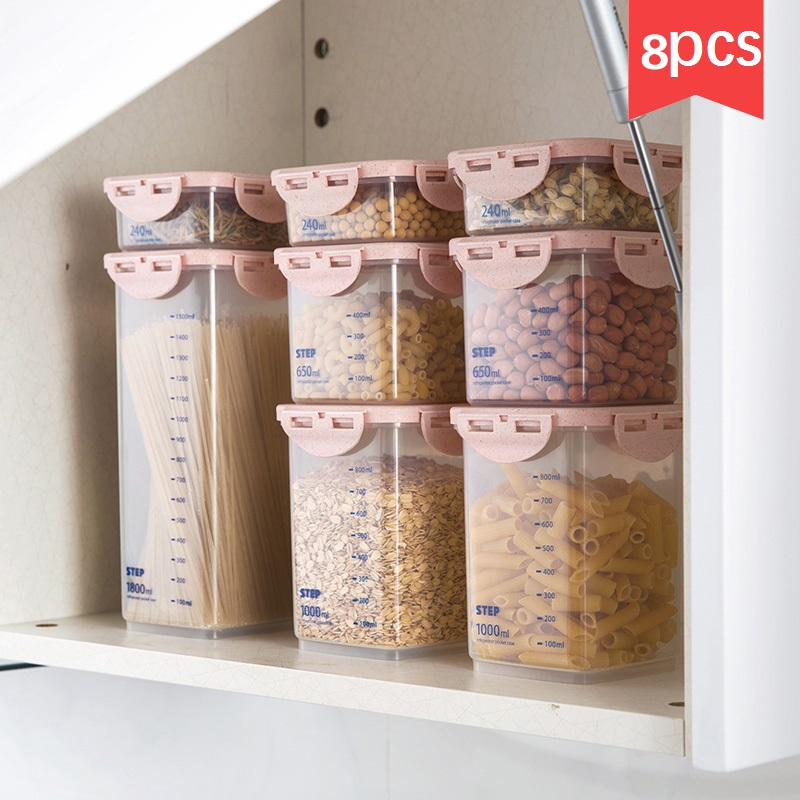 8pcs set Transparent sealed cans food storage box 8 sets of kitchen plastic grain cereal storage