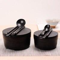 Japanese style couple noodle bowl chopsticks spoon set student rice soup melamine ramen dishware tableware plastic set