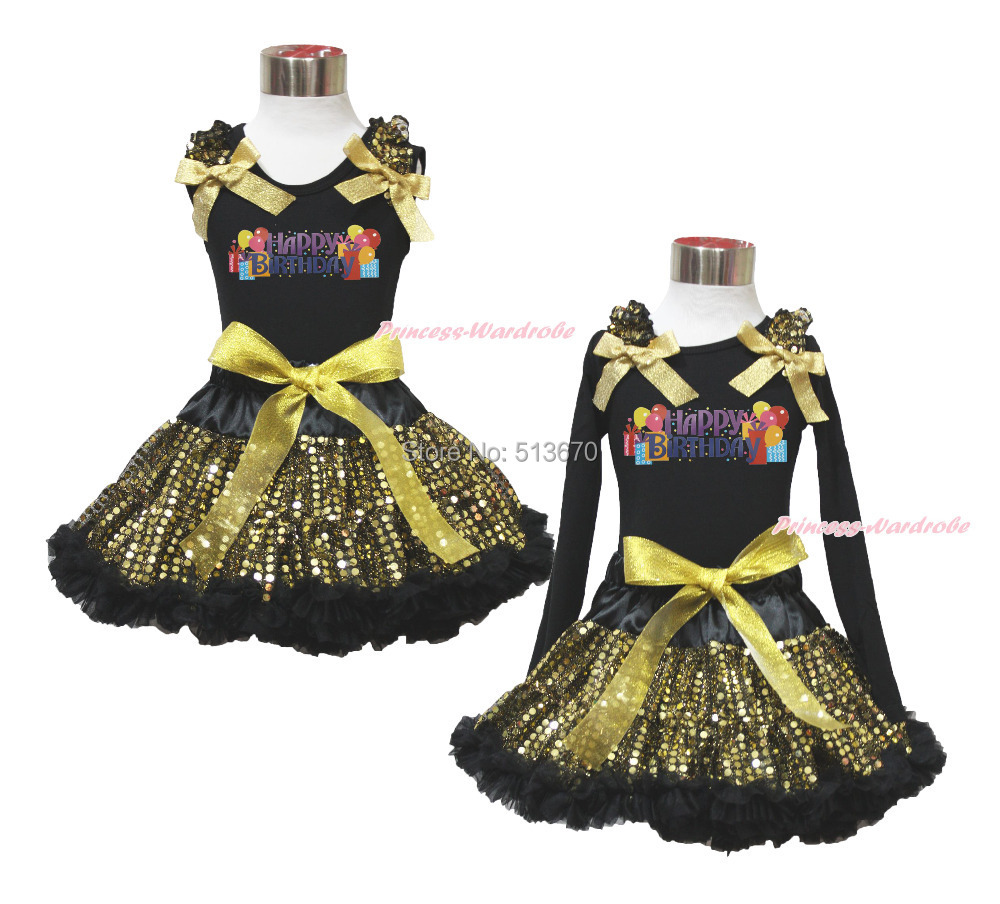 Easter Happy Birthday Balloon Black Top Sparkle Bling Gold Sequins Skirt 1-8Year MAPSA0481 цена и фото