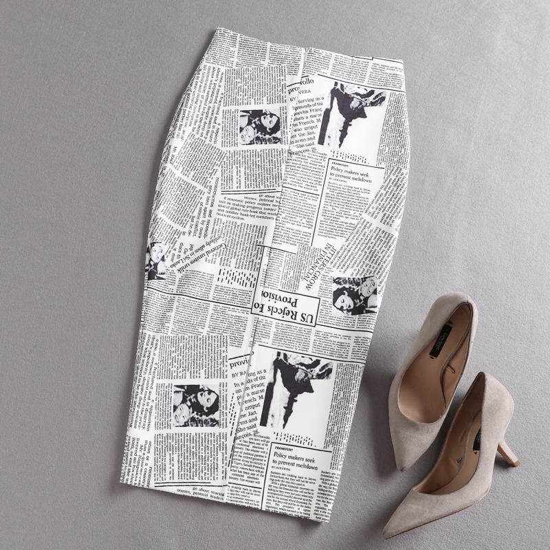 black white newspaper print pleated high waist sexy ladies pencil skirts