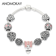 Anomokay New Antique Silver Color Heart Flower Charm Pan Bracelet Pink Crystal Diy Bead for Women Girl Jewelry Gift