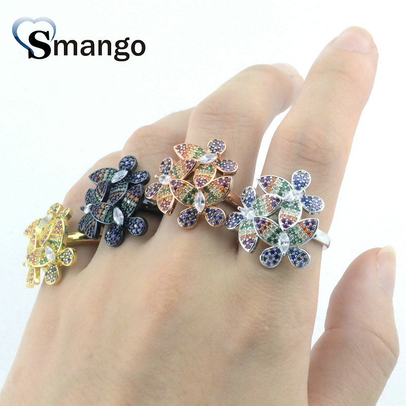 Women Fashion Jewelry The Rainbow Series Butterfly Shape Rings 18KGold Plating Pave Setting Cubic Zirconia Rings 5 Pieces in Rings from Jewelry Accessories