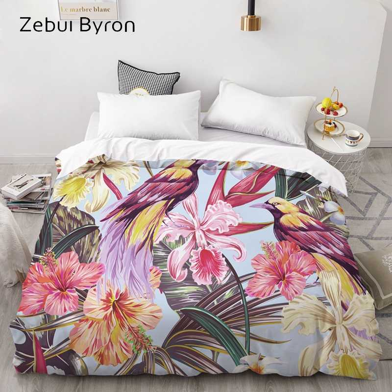 3D HD Print Custom Duvet Cover,Comforter/Quilt/Blanket case Queen/King Bedding 220x240/200x200 Colorful bird oil painting